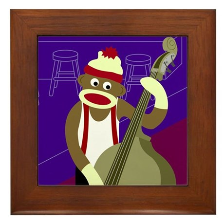 Sock Monkey Jazz Bass Framed Tile