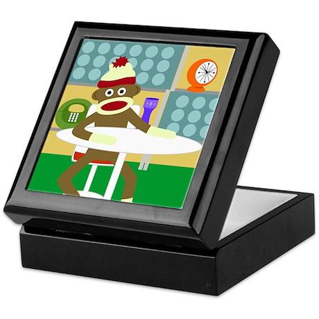 Retro Modern Sock Monkey Keepsake Box