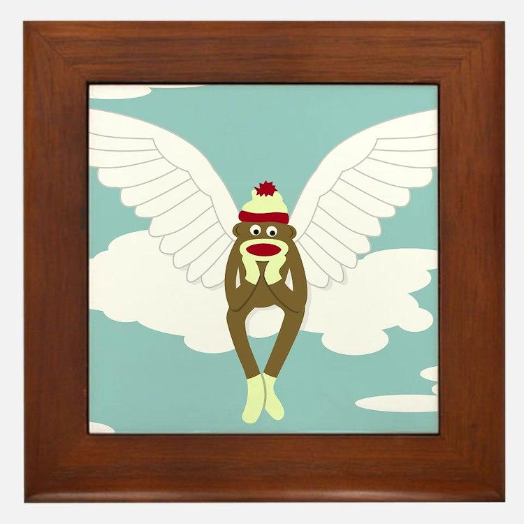Sock Monkey Guardian Angel Framed Tile