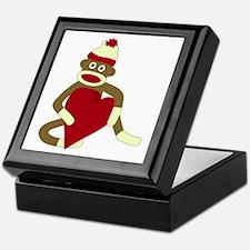 Sock Monkey Red Heart Keepsake Box