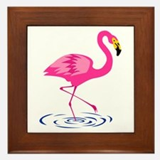 Pink Flamingo on One Leg Framed Tile