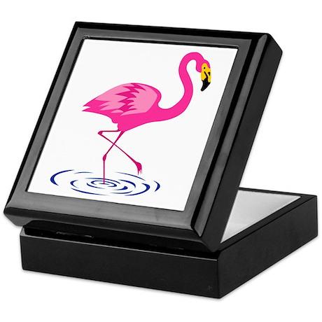 Pink Flamingo on One Leg Keepsake Box