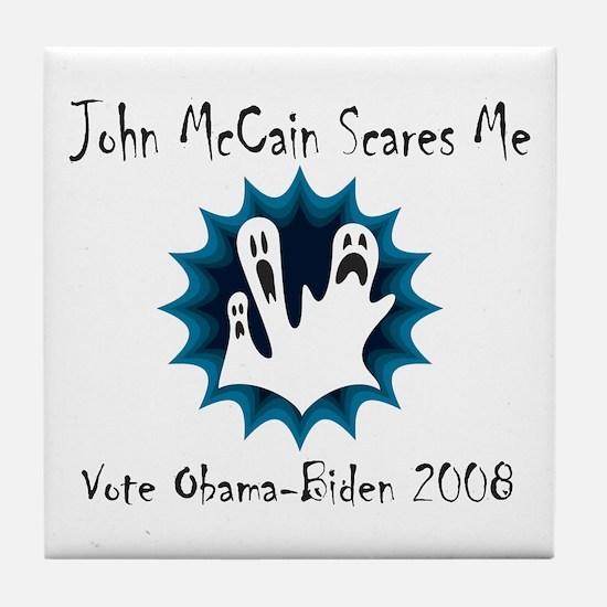 John McCain Scares Me Tile Coaster