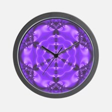 Fractal Mandala Wall Clock Light Purple