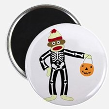 Sock Monkey Halloween Round Magnet