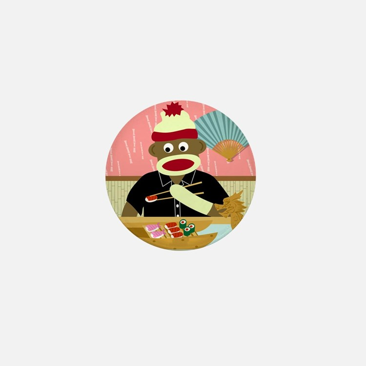 Sock Monkey Sushi Mini Button