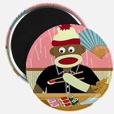 Sock Monkey Sushi Round Magnet