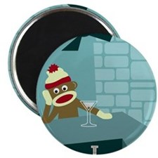 Sock Monkey Martini Magnet