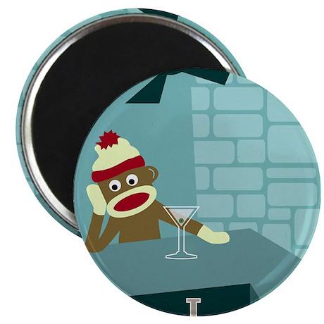 Sock Monkey Martini Magnet