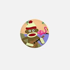 Sock Monkey Ukulele Mini Button