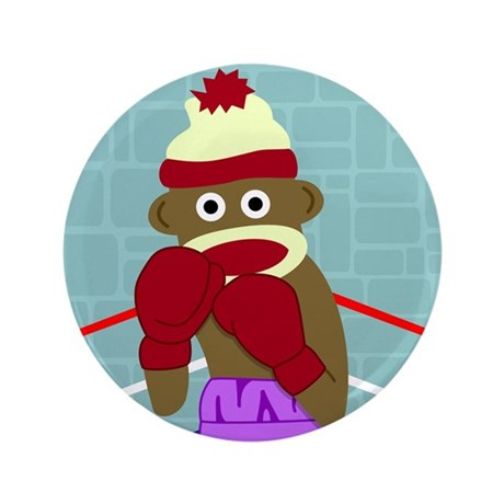 "Sock Monkey Boxing Gloves 3.5"" Button"