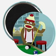 Sock Monkey Pool Billiards Magnet