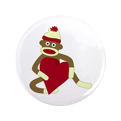 "Sock Monkey Red Heart 3.5"" Button"
