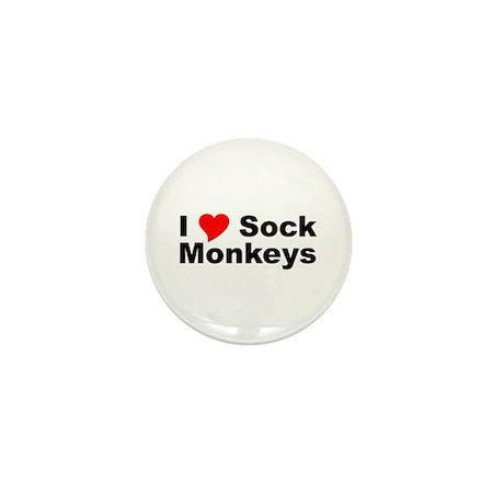 I Love Sock Monkeys Mini Button