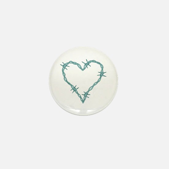 Barbed Wire Heart Mini Button