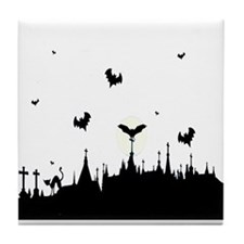 Halloween Night sky Tile Coaster
