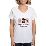 Peace Love Trumpet Women's V-Neck T-Shirt
