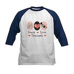 Peace Love Trumpet Kids Baseball Jersey