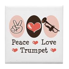 Peace Love Trumpet Tile Coaster