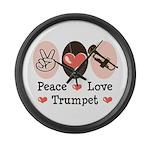 Peace Love Trumpet Large Wall Clock