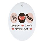 Peace Love Trumpet Oval Ornament