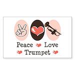 Peace Love Trumpet Rectangle Sticker 10 pk)