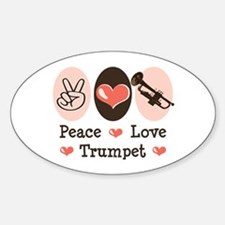 Peace Love Trumpet Oval Decal