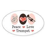 Peace Love Trumpet Oval Sticker (10 pk)