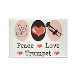 Peace Love Trumpet Rectangle Magnet