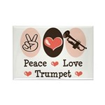 Peace Love Trumpet Rectangle Magnet (10 pack)