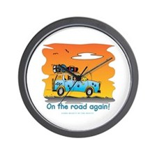 On the Road Again - At Sunset Wall Clock
