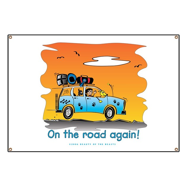 On The Road Again At Sunset Banner By Beautybeasts
