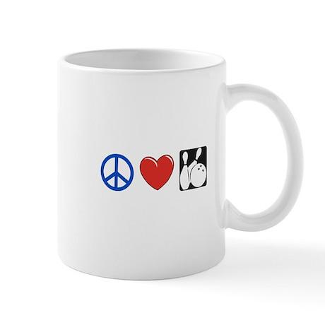 Peace. Love, Bowling Mug