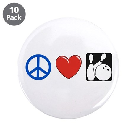 """Peace. Love, Bowling 3.5"""" Button (10 pack)"""