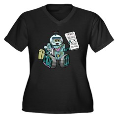 Retro Robot Women's Plus Size V-Neck Dark T-Shirt