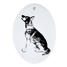 GSD obedience sit Oval Ornament