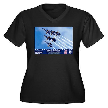 Blue Angels F-18 Hornet Women's Plus Size V-Neck D