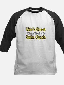 """""""Life's Great...Swim Coach"""" Kids Baseball Jersey"""