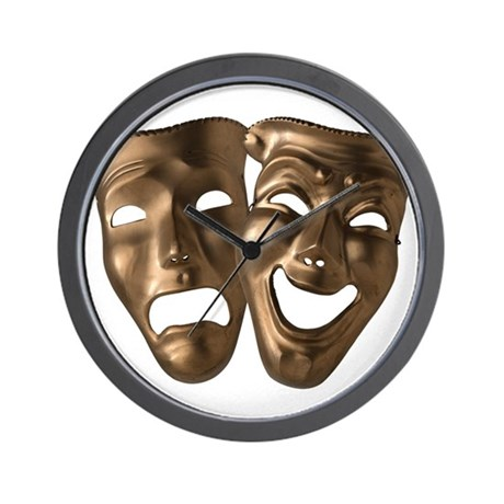 Drama and Comedy Masks Wall Clock
