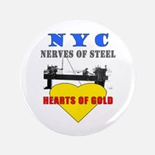 "NYC - Steel & Gold 3.5"" Button"