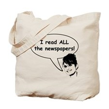 Palin Reads Newspapers Tote Bag