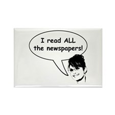 Palin Reads Newspapers Rectangle Magnet