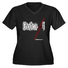 Outcast Rebel Women's Plus Size V-Neck Dark T-Shir