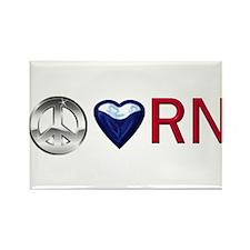 Peace Love RN Rectangle Magnet