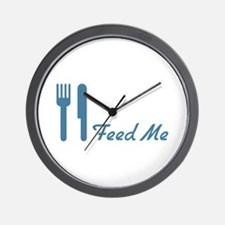 Blue Feed Me Fork Knife Wall Clock