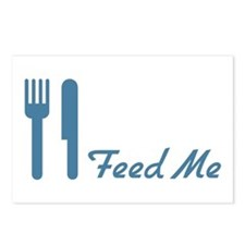 Blue Feed Me Fork Knife Postcards (Package of 8)