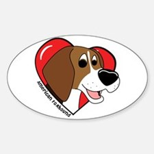 Cartoon Love American Foxhound Oval Decal