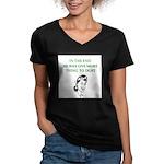 womens divorce joke Women's V-Neck Dark T-Shirt