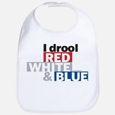 I Drool Red, White and Blue Bib