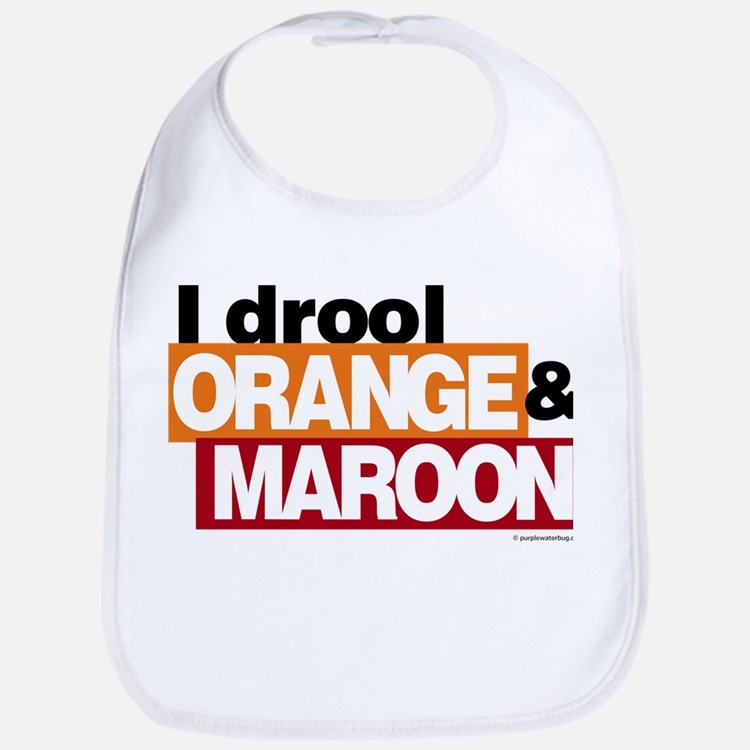I Drool Orange and Maroon Bib